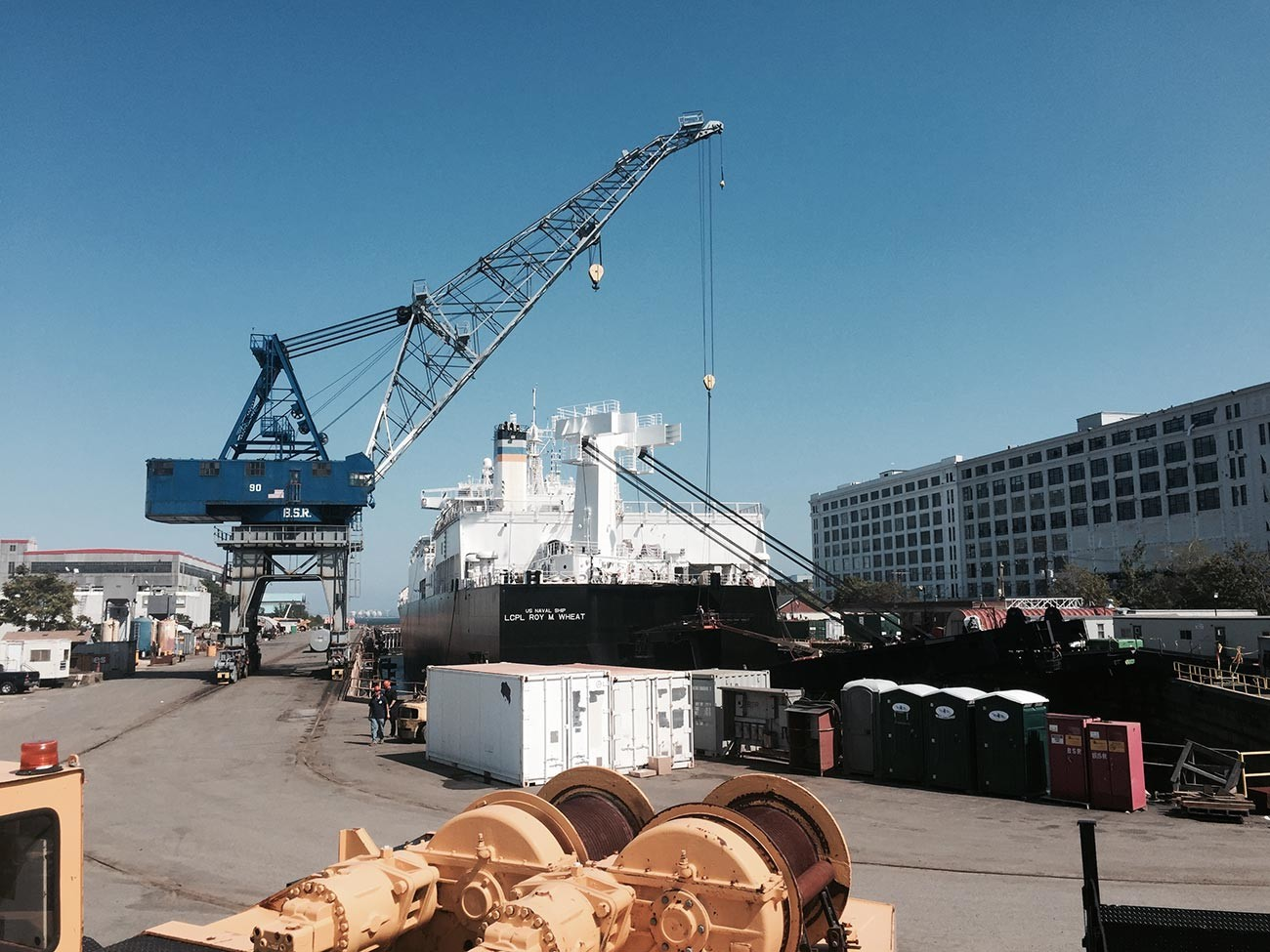 USNS LCPL Roy M. Wheat (T-AK 3016), named after w:Roy M. Wheat, in Boston's dry dock number 3