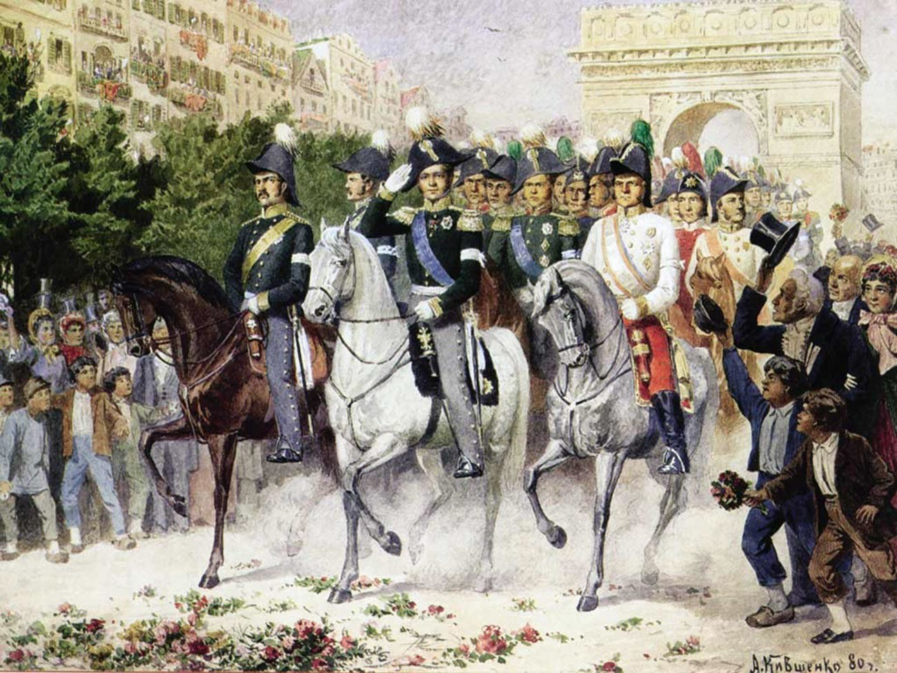 Russian army entering Paris in 1814