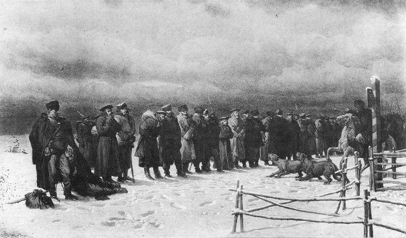Артур Гротгер. Участников Польского восстания 1863 года гонят в Сибирь.