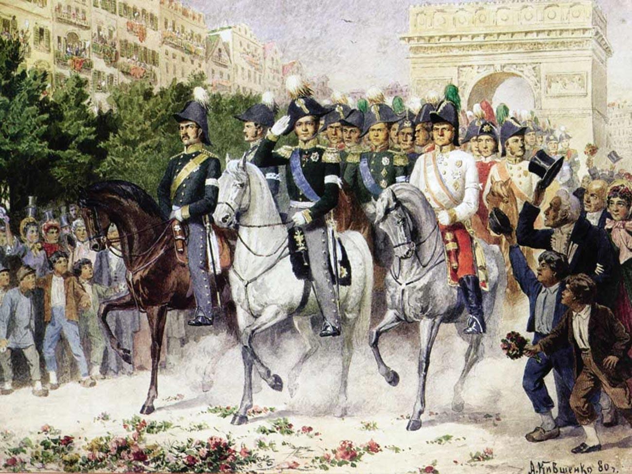 Russische Armee marschiert 1814 in Paris ein