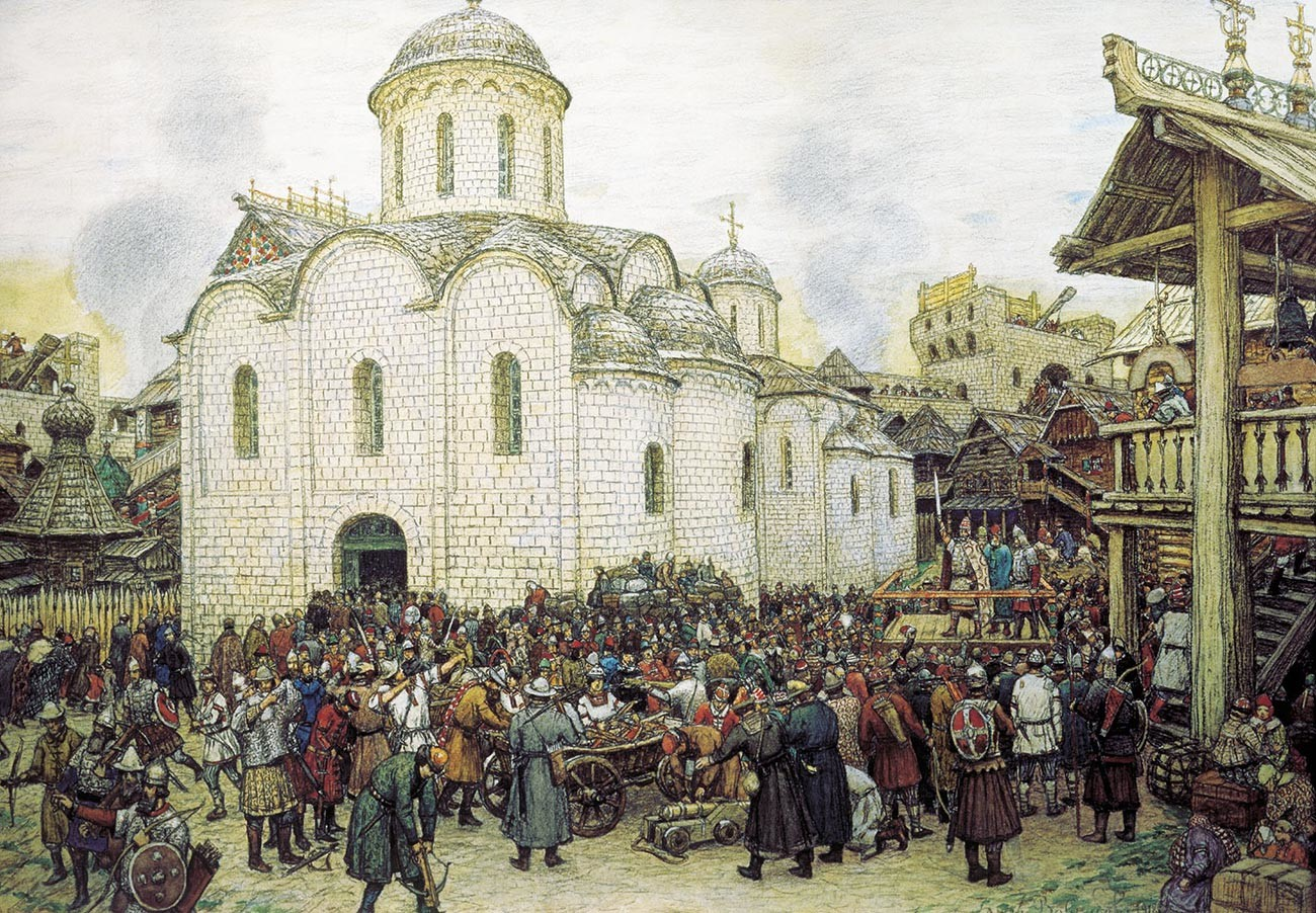 """Questo è probabilmente l'aspetto che avevano le  città della Rus' feudale ai tempi di Basilio II o in precedenza. """"La difesa di una città da Khan Tokhtamysh, XIV secolo"""" è un quadro di Apollinarij Vasnetsov (1856-1933)"""