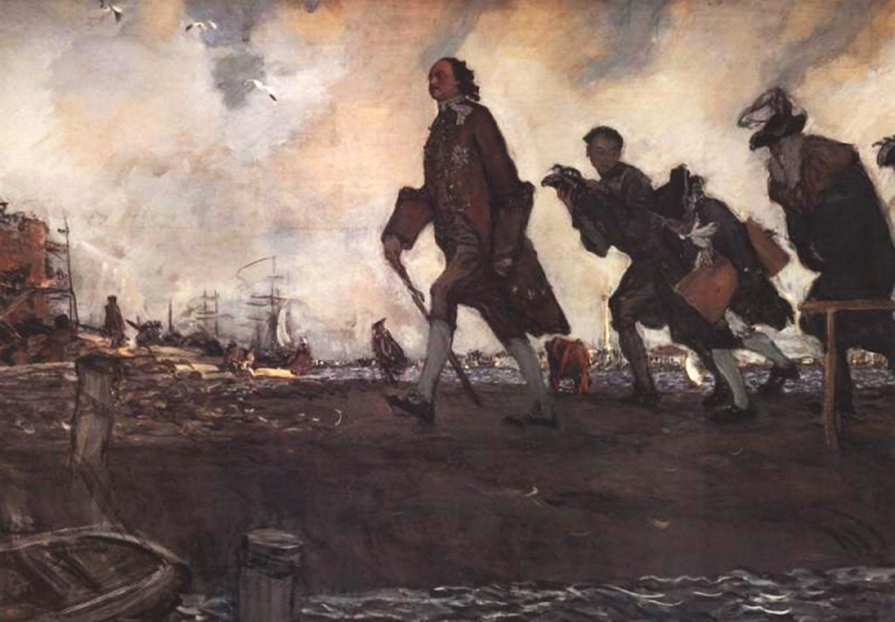 """Uno dei pochi dipinti che cercano di mostrare la reale statura di Pietro il Grande e la velocità frenetica dei suoi movimenti. """"Pietro I"""", dipinto del 1907 di Valentin Serov (1865-1911)."""