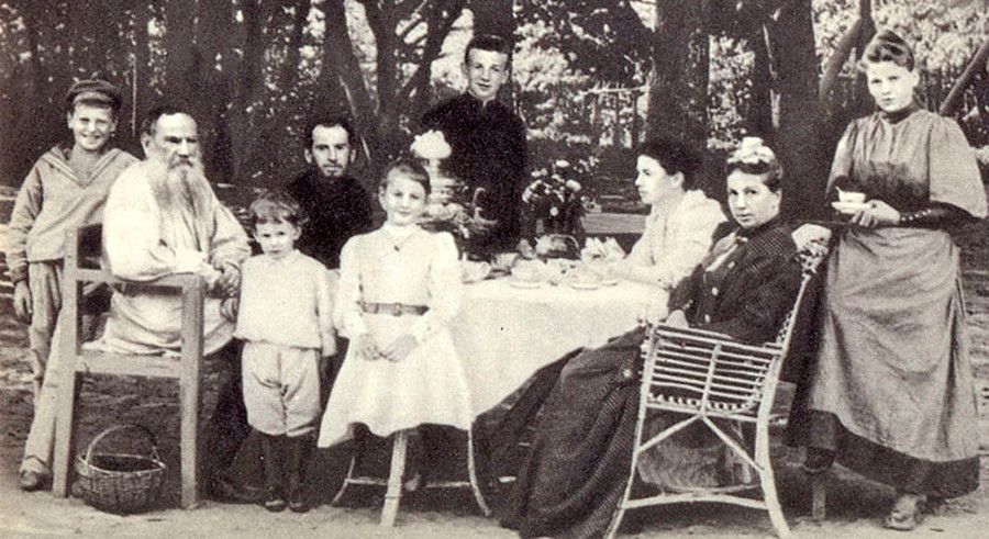 Leo Tolstoy with his family at tea in a park, 1892