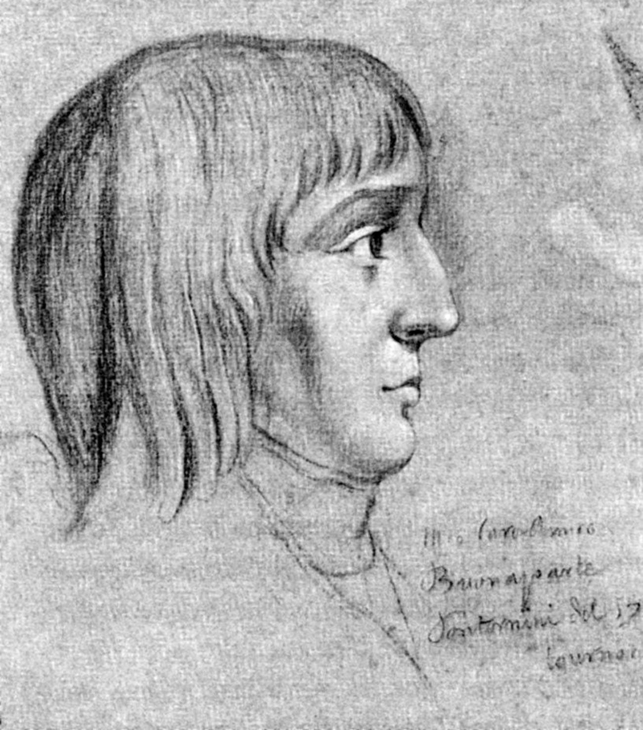 Napoleone Bonaparte (1769-1821) all'età di 16 anni, matita su carta