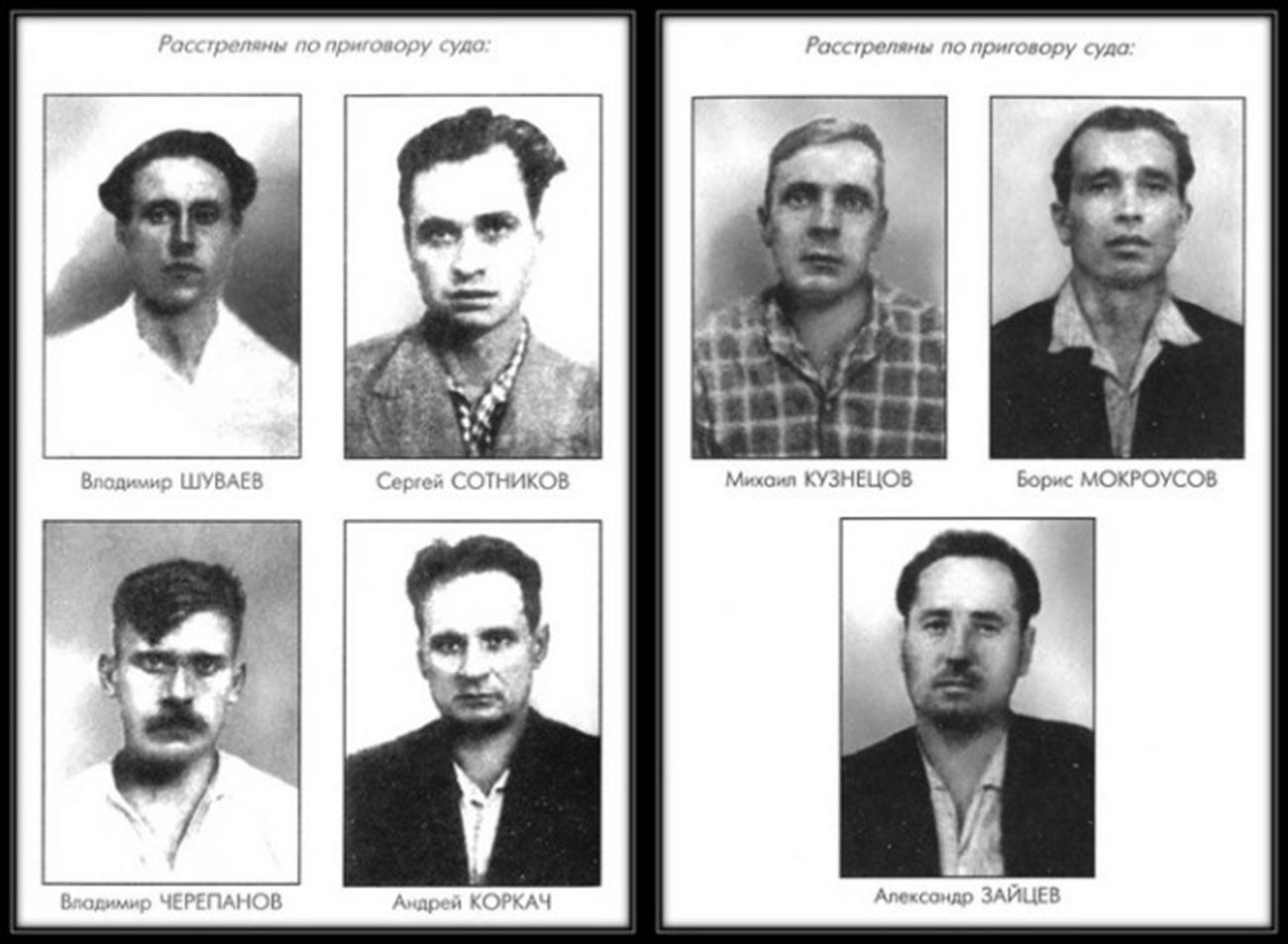 Fotos de 7 operários condenados a execução após a greve: Vladímir Chuvaev (1937-1962), Serguêi Sotnikov (1937-1962), Mikhail Kuznetsov (1930-1962), Boris Mokrousov (1923-1962), Vladímir Tcherepanov (1933-1962), Andrei Korkatch (1917-1962), Aleksandr Zaitsev (1927-1962)