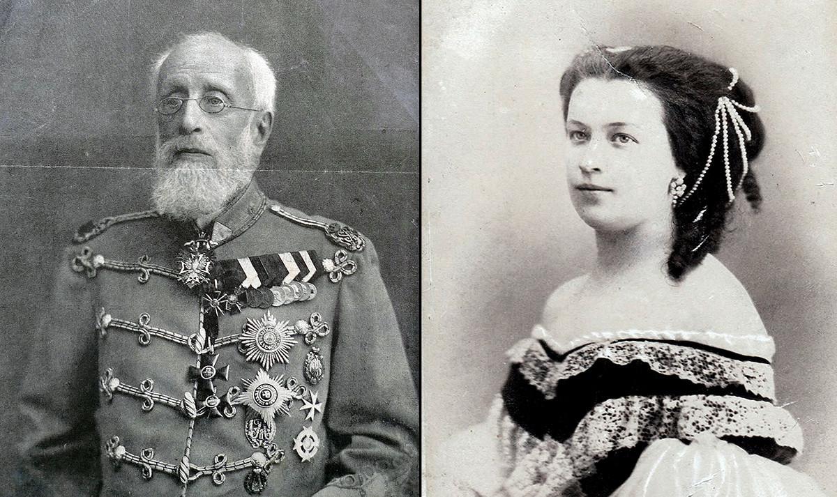 Aleksandr Púchkin (1833-1914), o filho mais velho do poeta e general do exército russo (esq.); e Natalia (Púchkin) Merenberg (1836–1913), filha do poeta.
