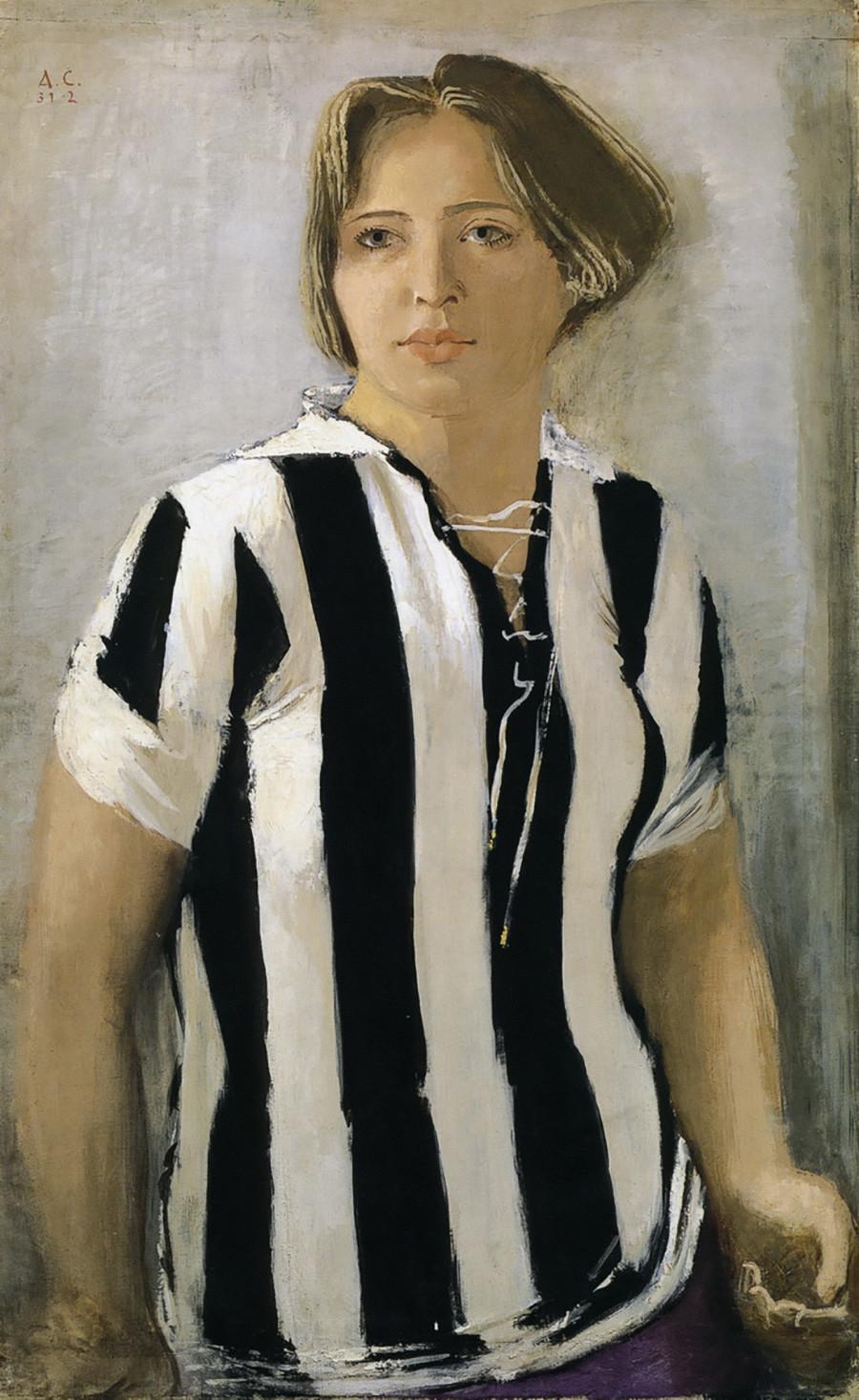 Александр Самохвалов. Девушка в футболке. 1932