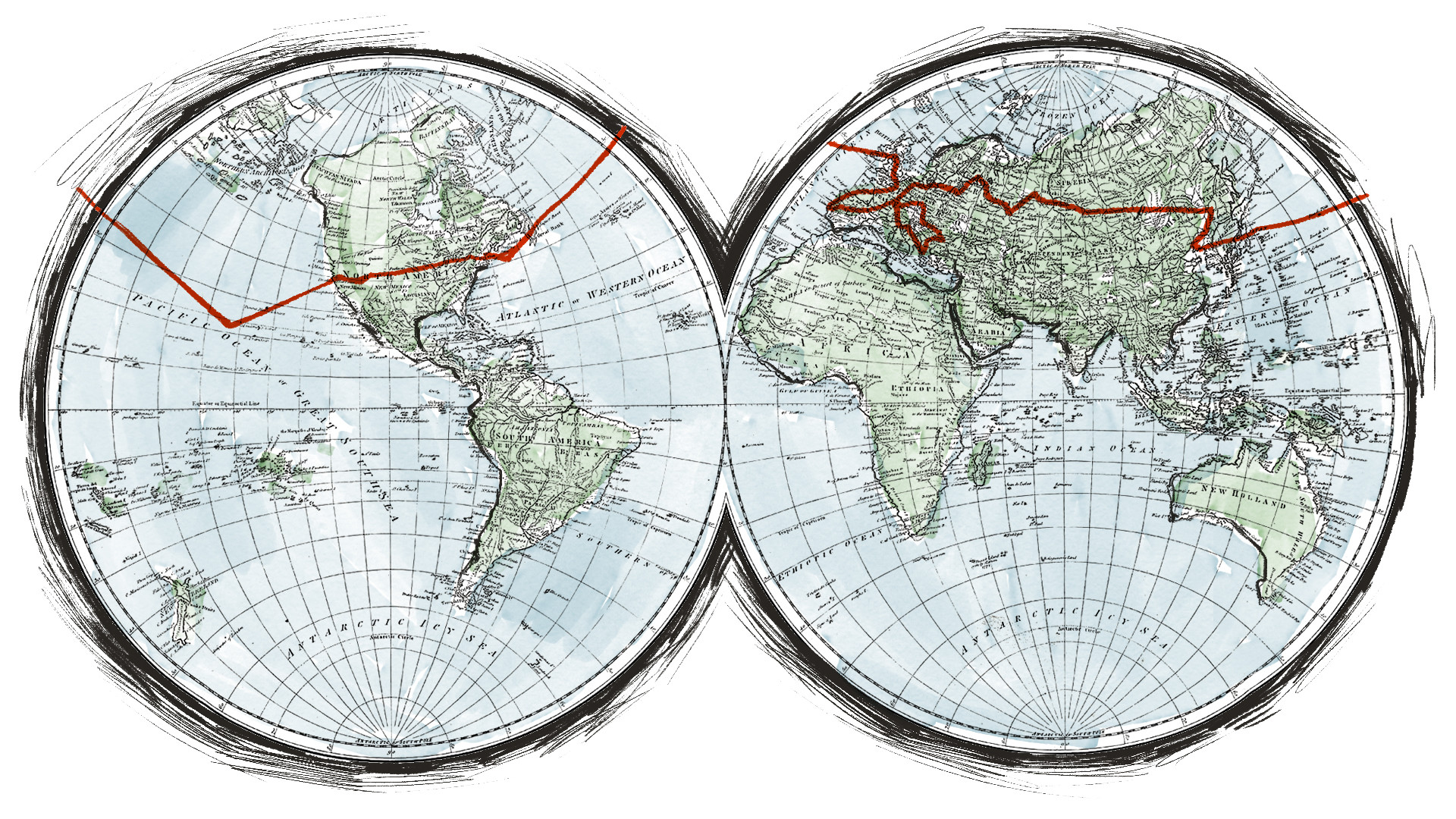 Onisim Panratov's approximate route around the globe