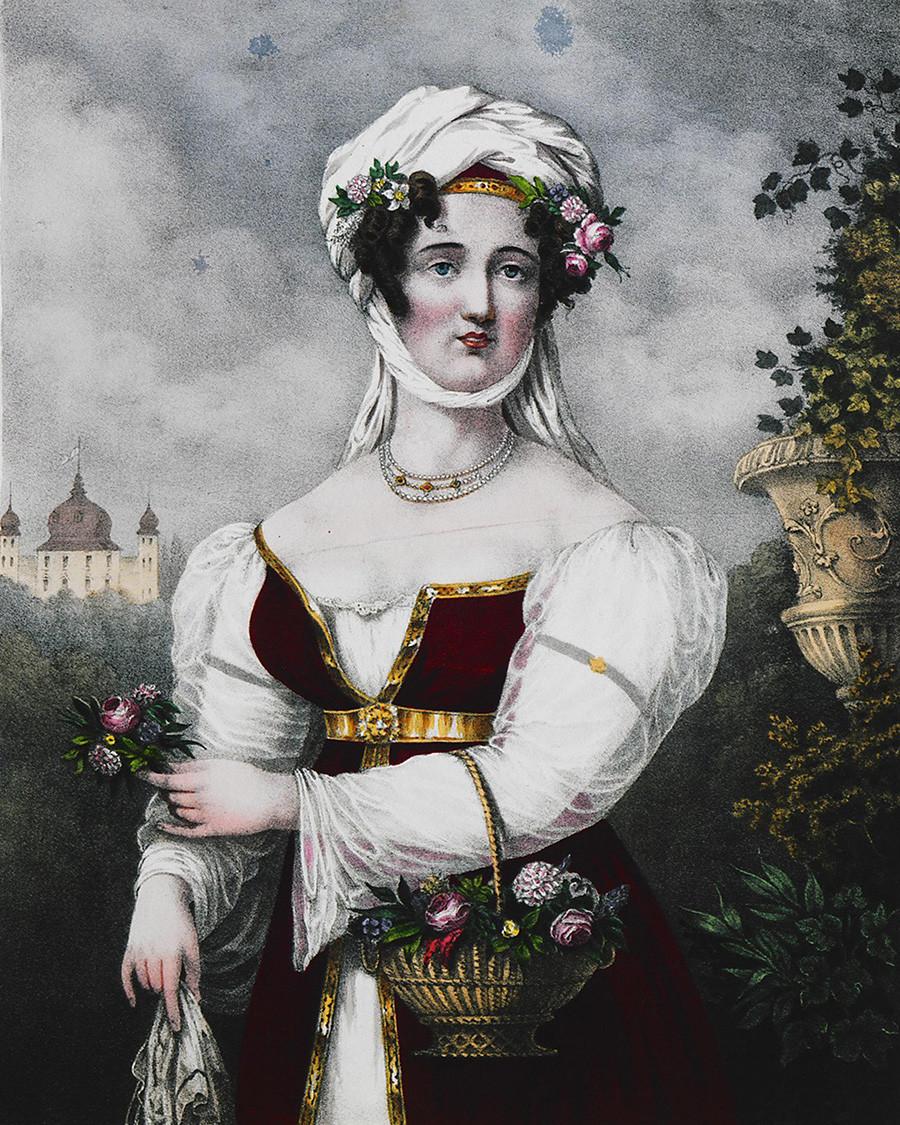 Гравиране на Ласкарина Бубулина, героиня на гръцката война за независимост. 1827 г.