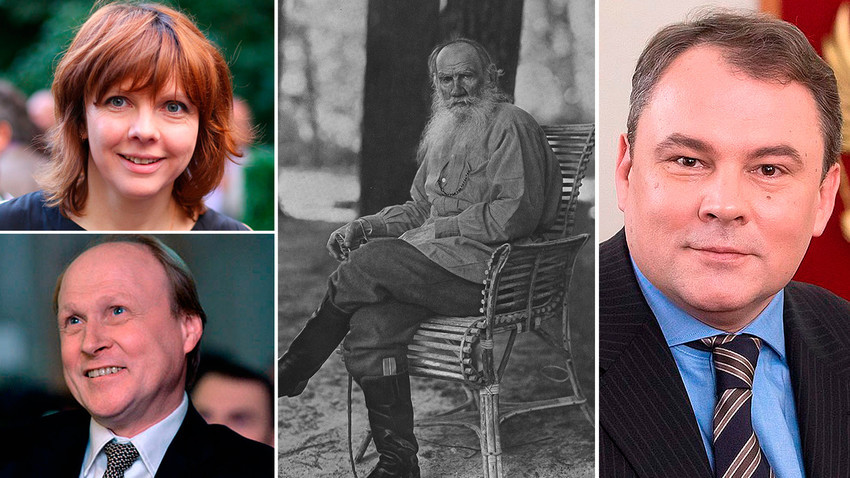 Lev Tolstoj in njegovi pravnuki - Fekla, Vladimir in Peter