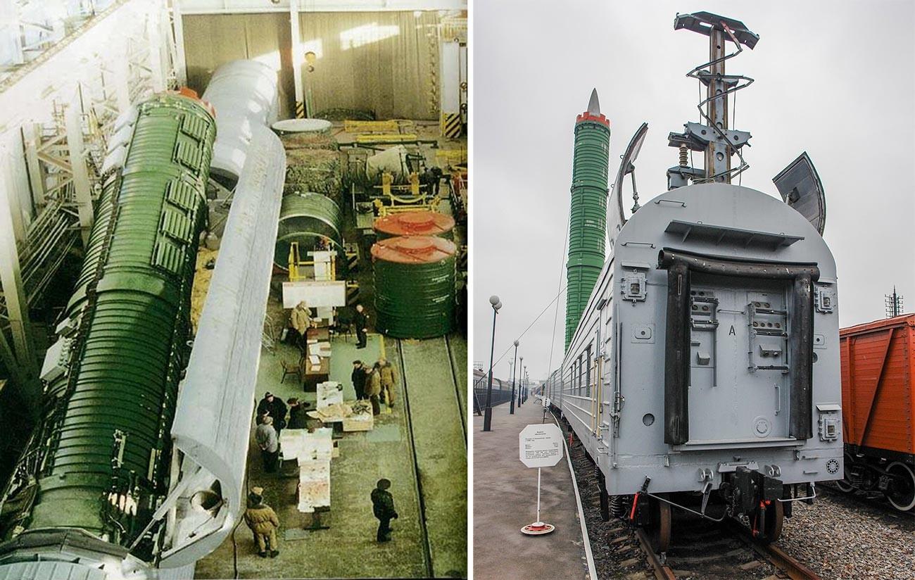 """Лево: Скидање ракете РТ-23 (по класификацији НАТО-а SS-24 Scalpel) у Бершету; десно: БЖРК 15П961 """"Молодец""""."""