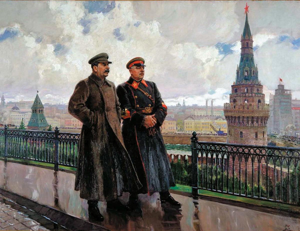 Aleksander Gerasimov. I.V. Stalin in K.E. Vorošilov v Kremlju, 1938