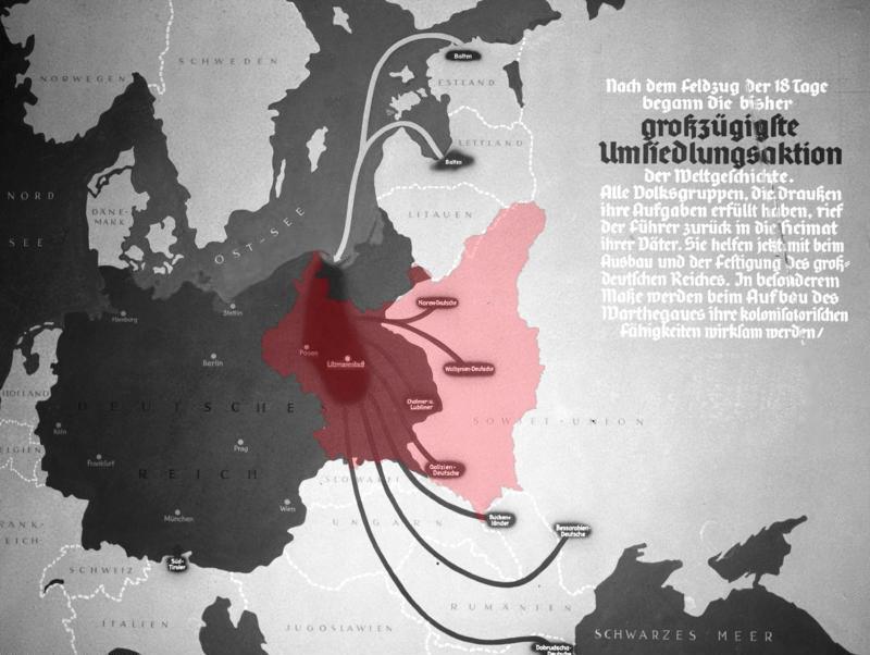Cartel de propaganda nazi del Tercer Reich de 1939 (gris oscuro) después de la conquista de Polonia. Presenta bolsas de colonos alemanes que se reubican en áreas polacas anexionadas por la Alemania nazi desde territorios controlados por la Unión Soviética durante la acción