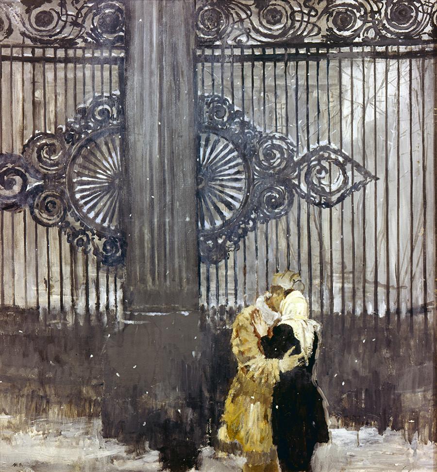 """Репродукција уметничке слике """"Сусрет"""", Јурија Пименова. Уље на платну."""