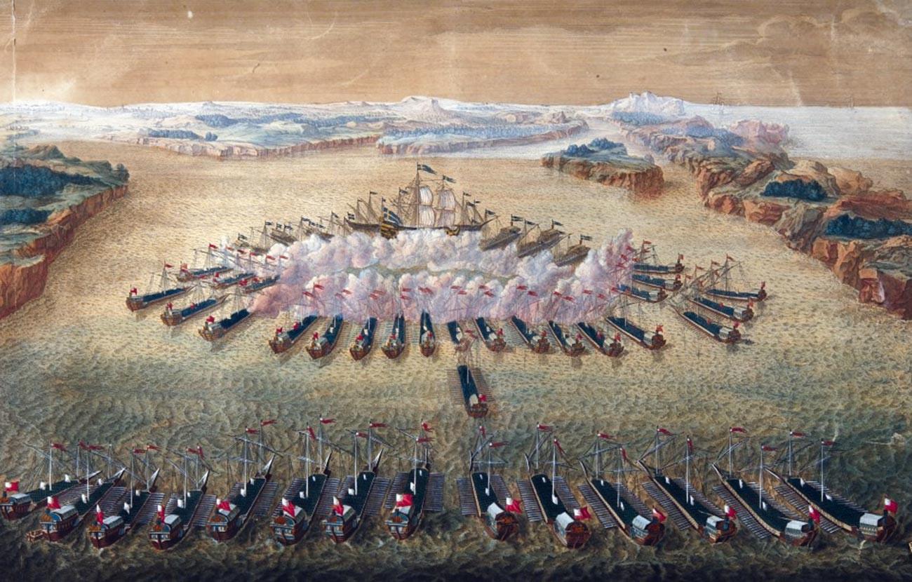 La battaglia di Gangut, incisione di Mauritius Bakua