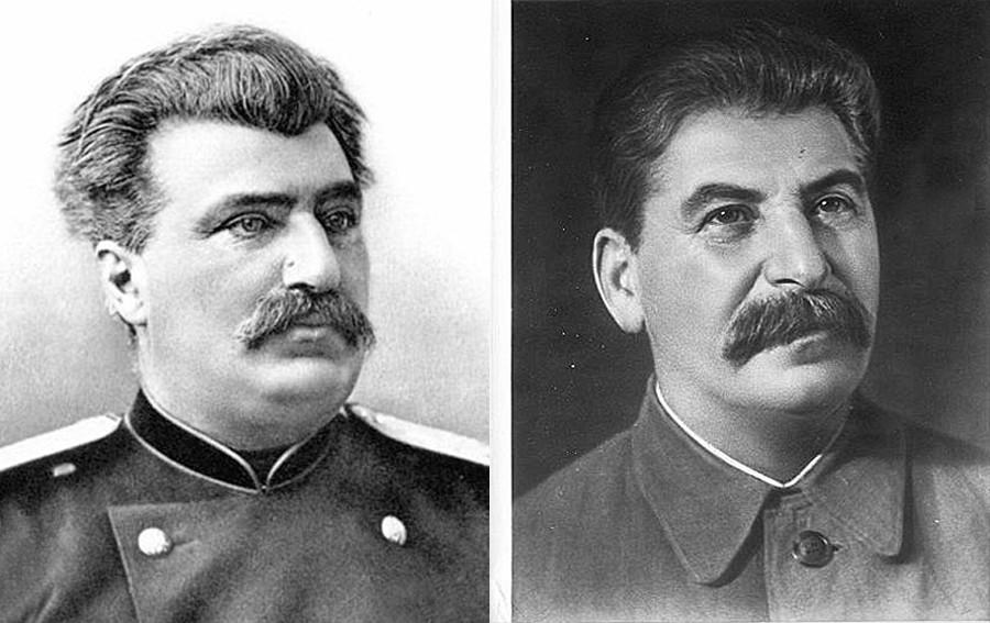 Колаж: Николай Пржевалски вляво, Сталин вдясно