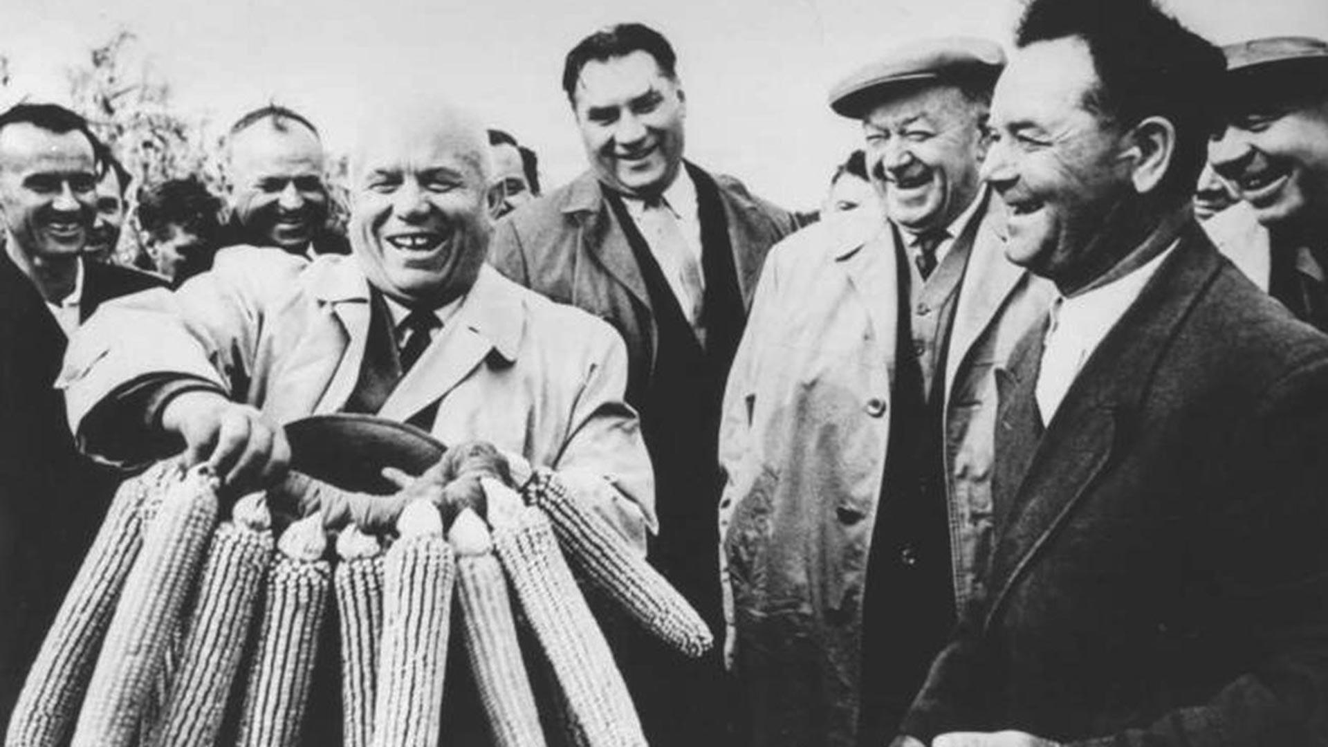 Un momento della prima visita di Khrushchev negli Stati Uniti