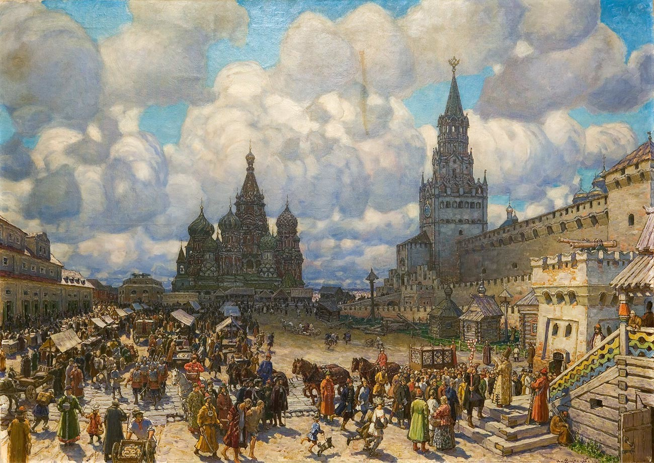 'Red Square in the second half of the 17th century', A. Vasnetsov, 1925.
