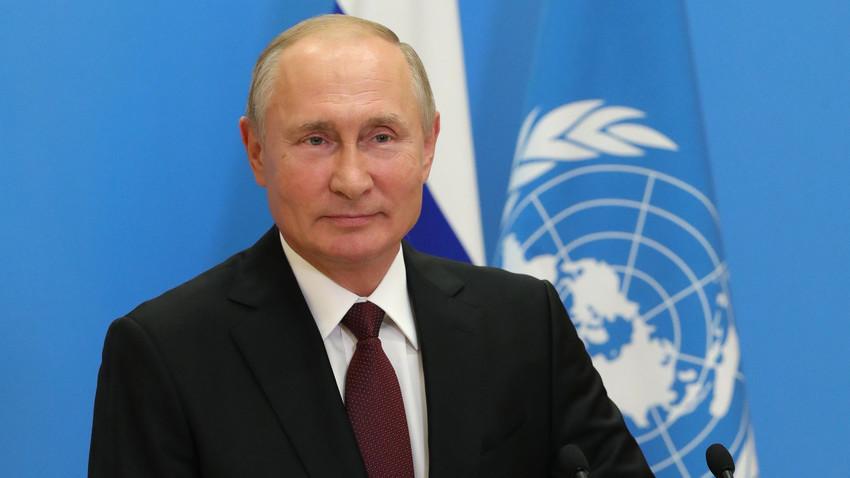 Presiden Rusia Vladimir Putin selama Sidang Majelis Umum PBB secara virtual dari Moskow, Rusia, Selasa (22/9).