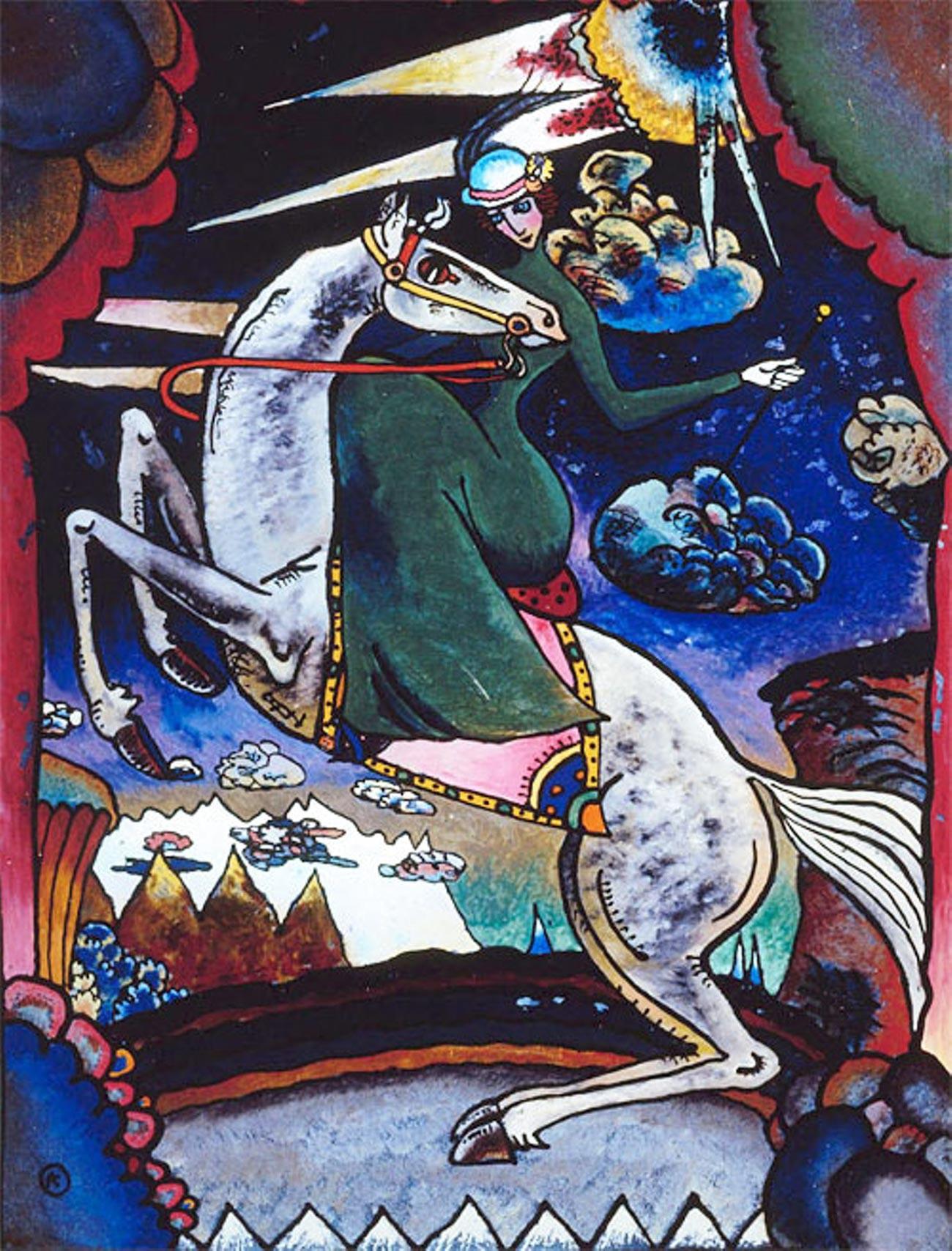 ガラス絵「山中を疾駆する女騎士」、ワシリー・カンディンスキー、1918年