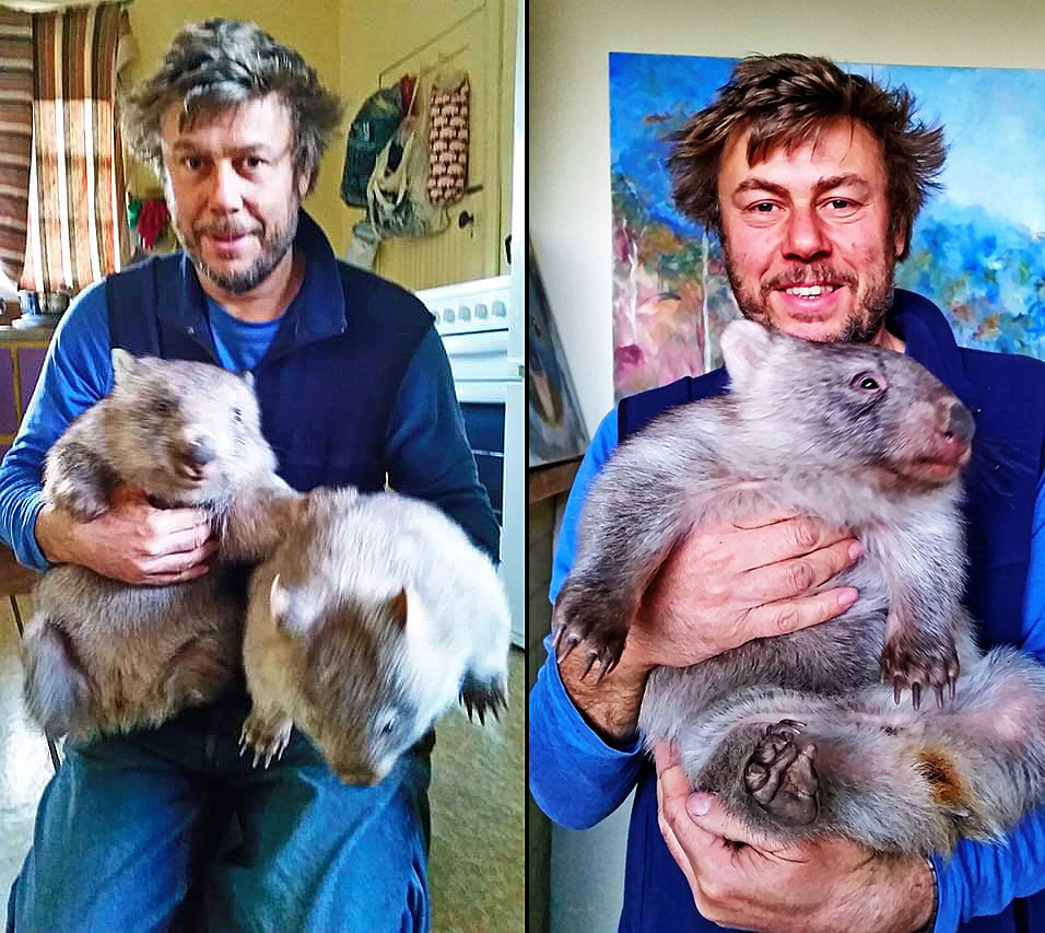 Vlad with wombats.