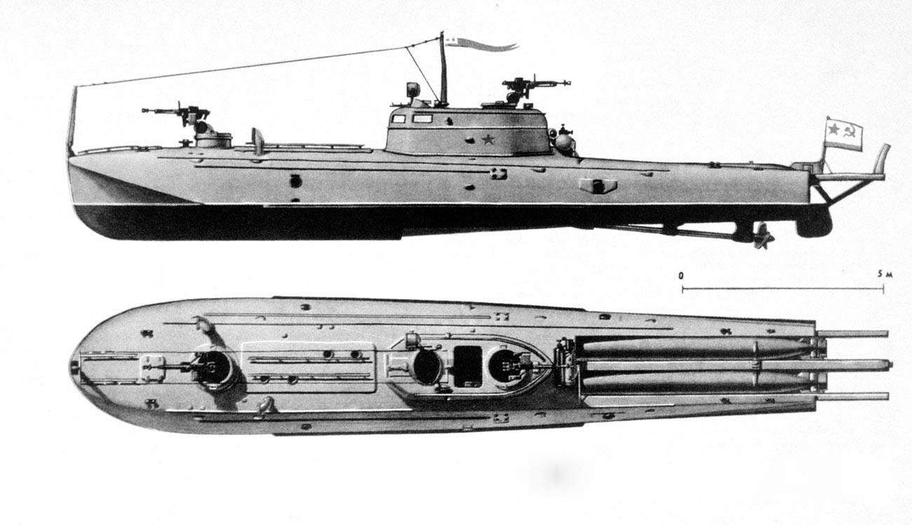 Цртеж на торпедниот чамец од типот Г-5.