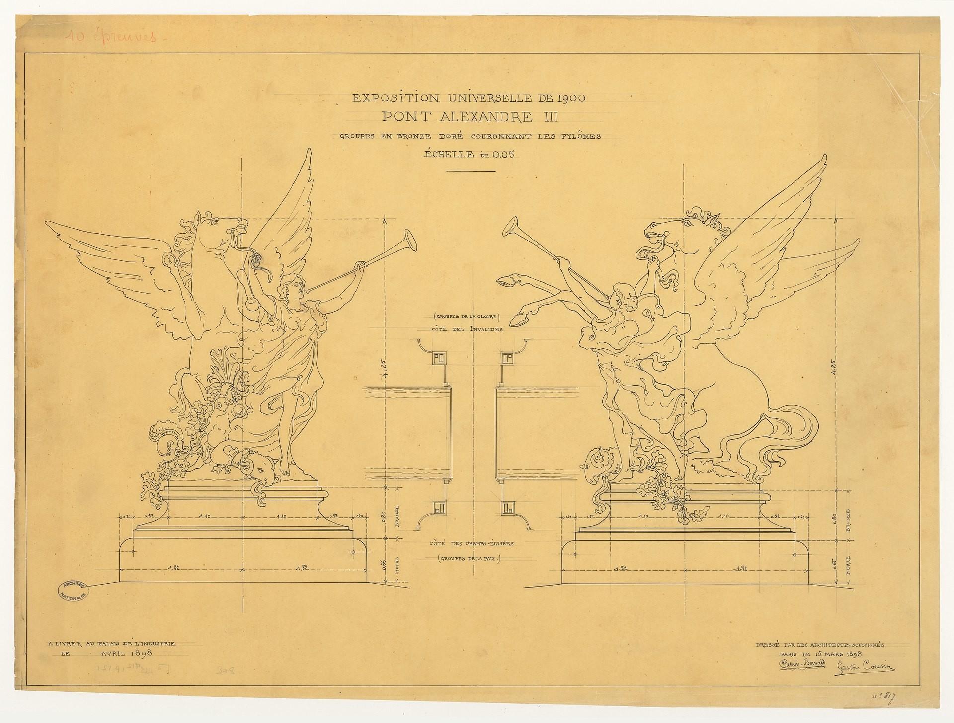 L'exposition universelle de 1900, le pont Alexandre-III. Groupes en bronze doré couronnant les pylônes