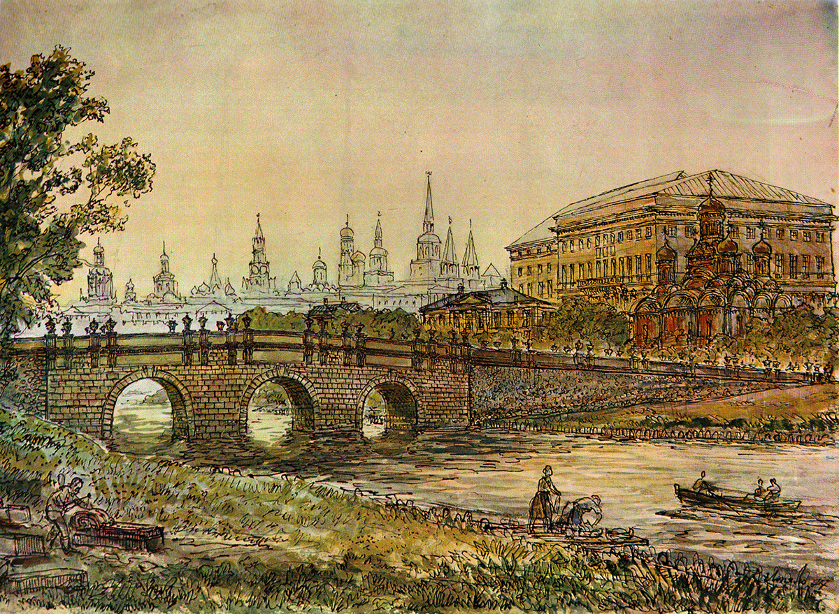 Kuznetskiy Most in the 18th century, by Karl Lopyalo