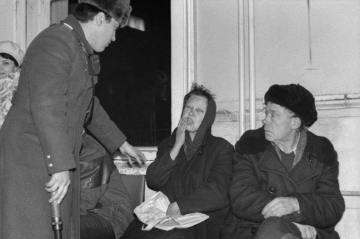 Бездомные москвичи в 1991 году.