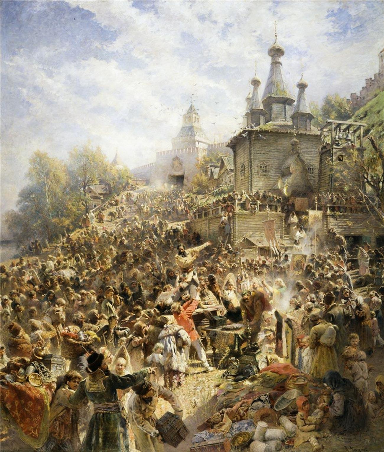 Poklič Minjina na trgu Nižnjeg Novgoroda.