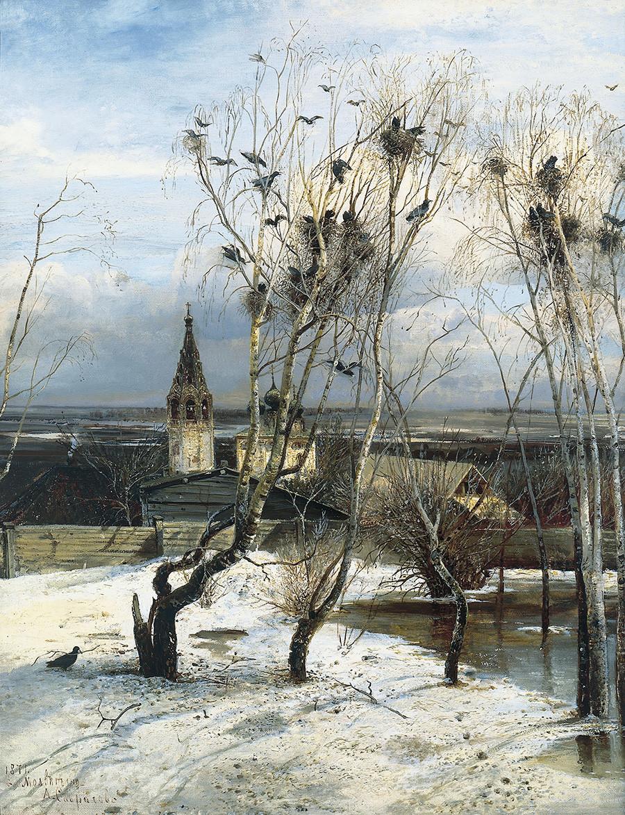 アレクセイ・サヴラソフ 「ミヤマガラスの飛来」 1871年