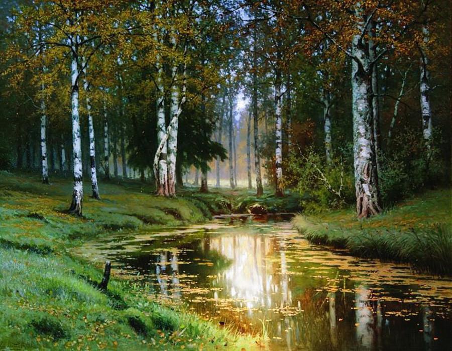 エフィム・ヴォルコフ 「黄金の秋―静かな小川」 1893年