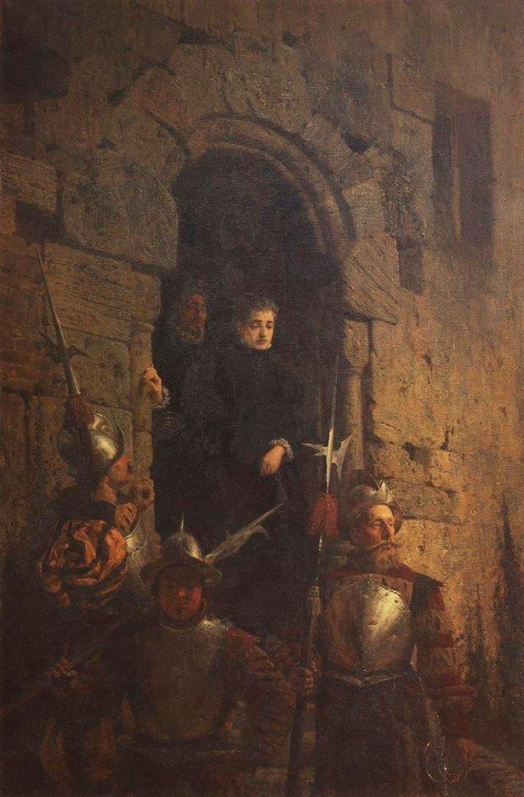 L'Arrestation d'une femme huguenote, 1875