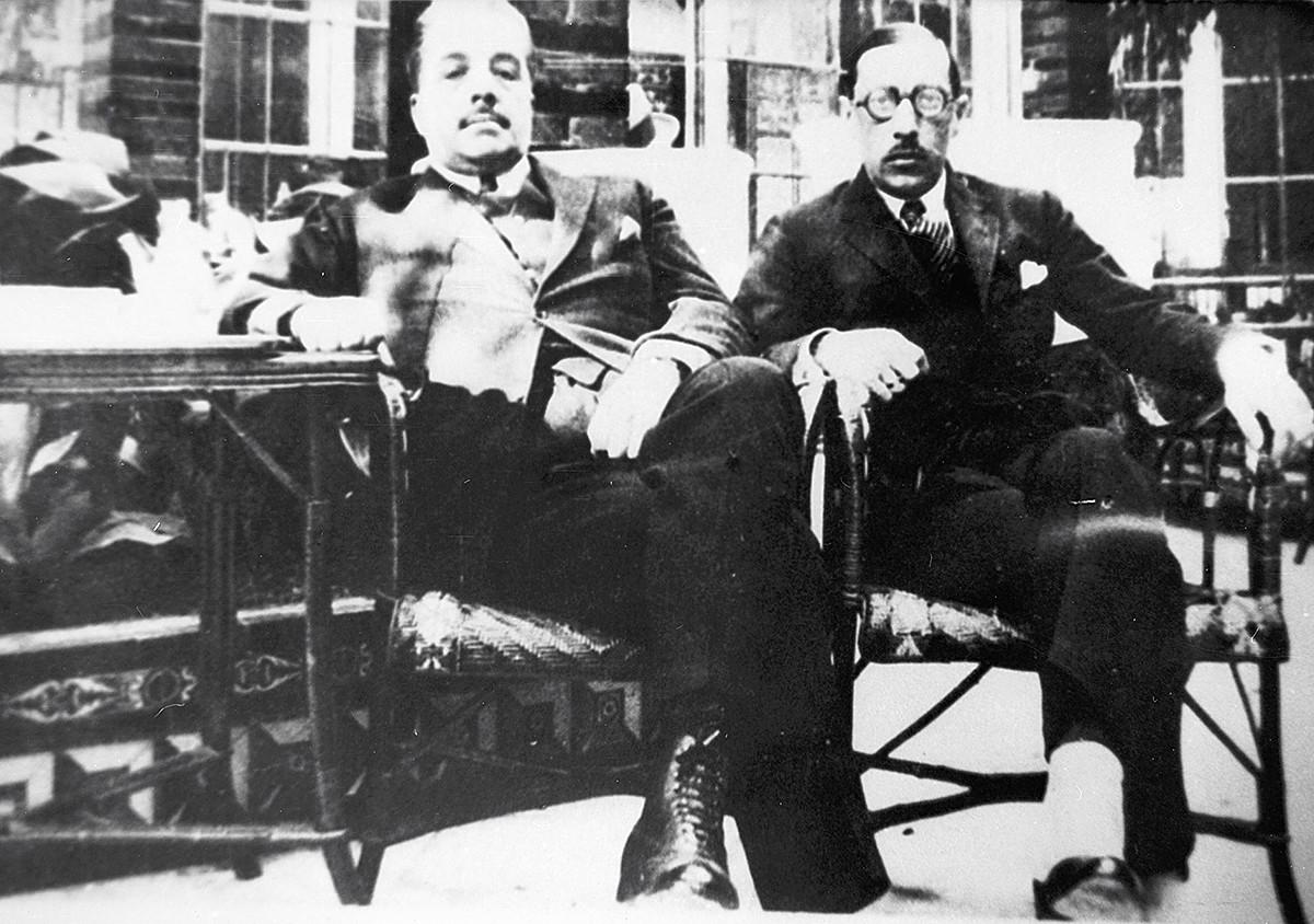 Sergei Djagilew und Igor Strawinsky in Paris im Jahr 1921