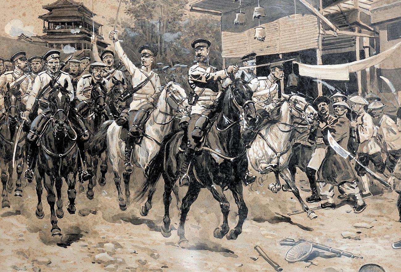 Русская кавалерия атакует отряд ихэтуаней.