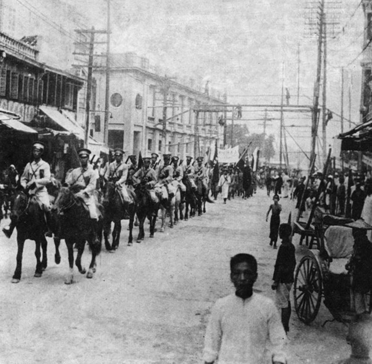 Китайская кавалерия в Харбине. 1929 год.
