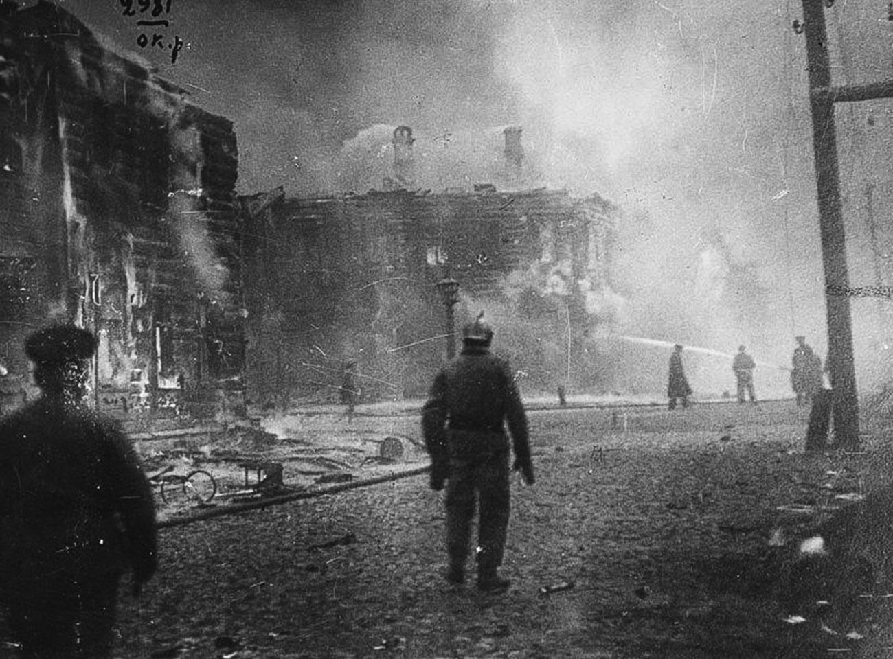 10月社会主義革命中、モスクワで発生した火事