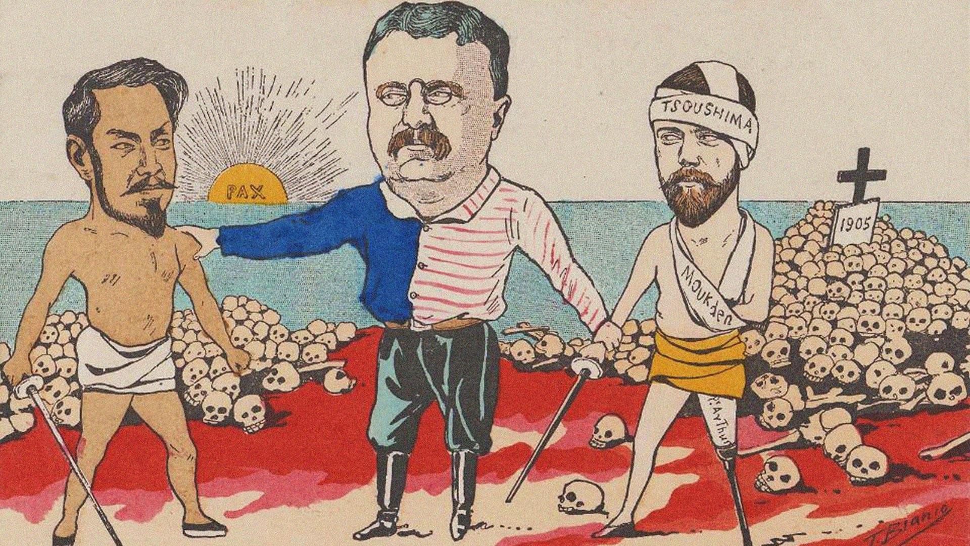 Eine Karikatur zum Vertrag von Portsmouth, 1905.