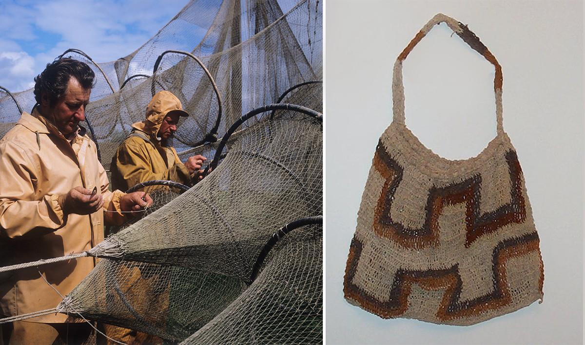 Left: a fishing net, right: a bilum