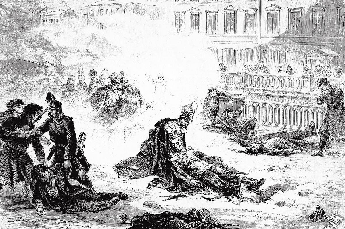 O assassinato de Alexandre 2°, em 1881, em pintura de Gustav Broling.