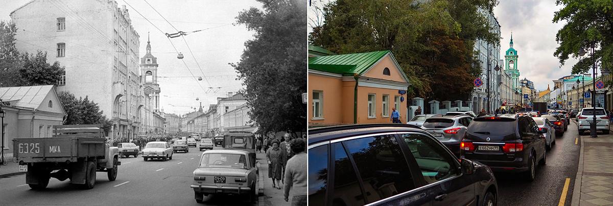 Лево: улица Пјатницка крајем 80-их година прошлог века; десно: 2020. година