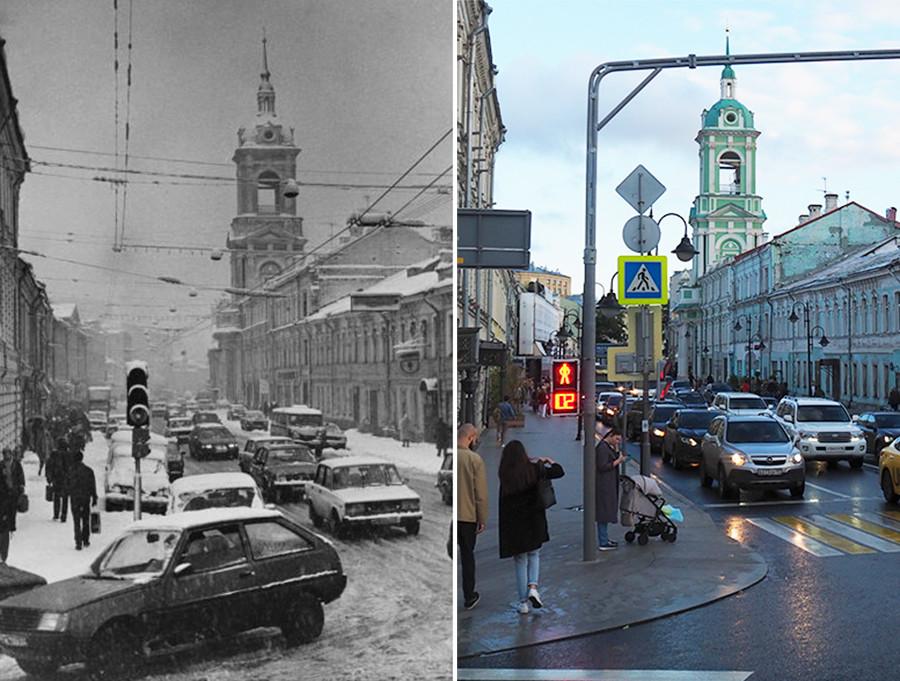 Лево: Поглед на Пјатницку, фебруар 1994.; десно: 2020. година