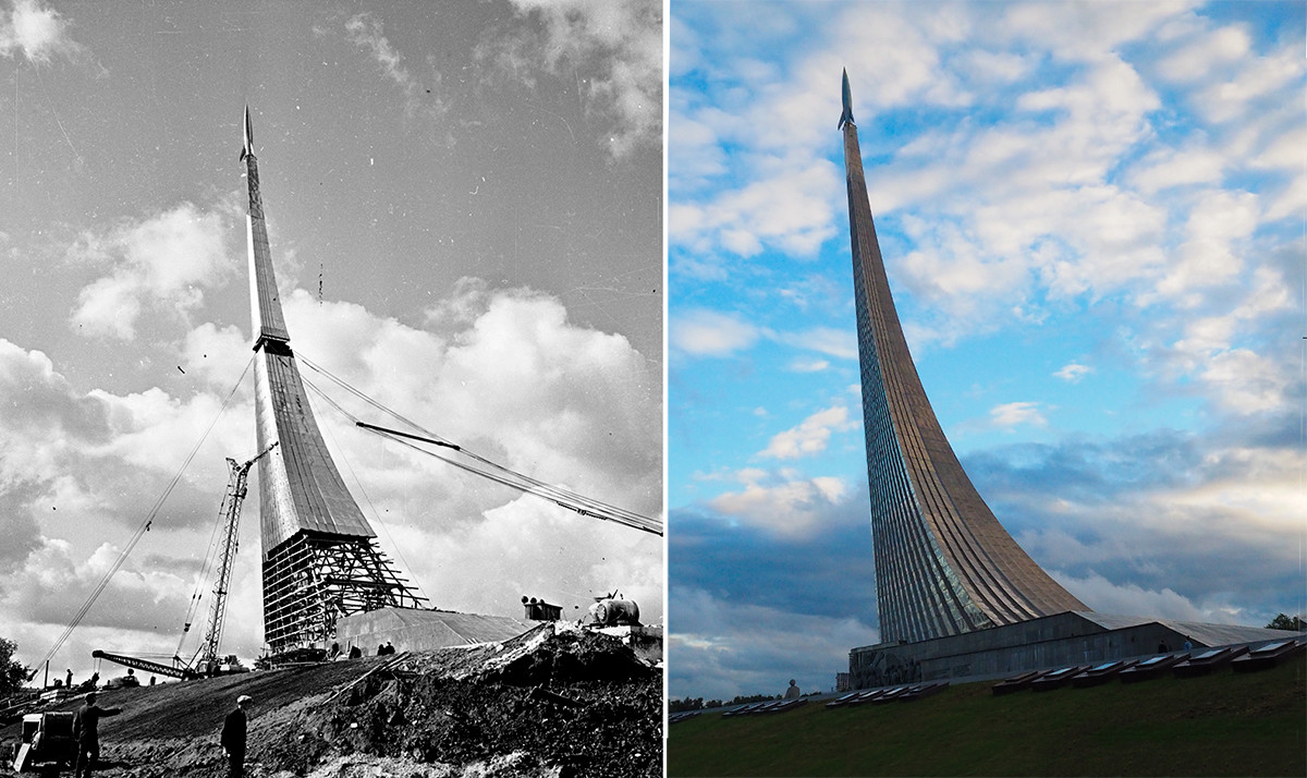 "Лево: Споменик ""Освајачима космоса"", 1963.; десно: 2020. година"