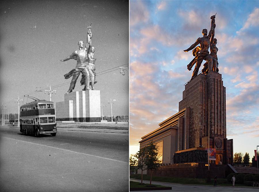 """Лево: Споменик """"Радник и колхозница"""" 1940.; десно: 2020. година"""