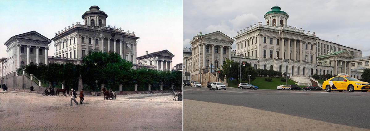 Лево: Дом Пашкова,1890-те; десно: 2020. година