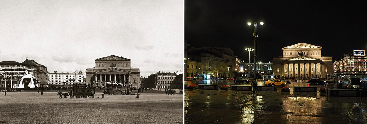 Лево: Театрални трг, 1896. година; десно: 2020.