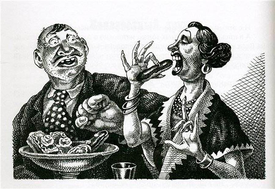 """Illustrazione per """"L'aristocratica"""" realizzata dall'artista Sergej Lemekhov"""