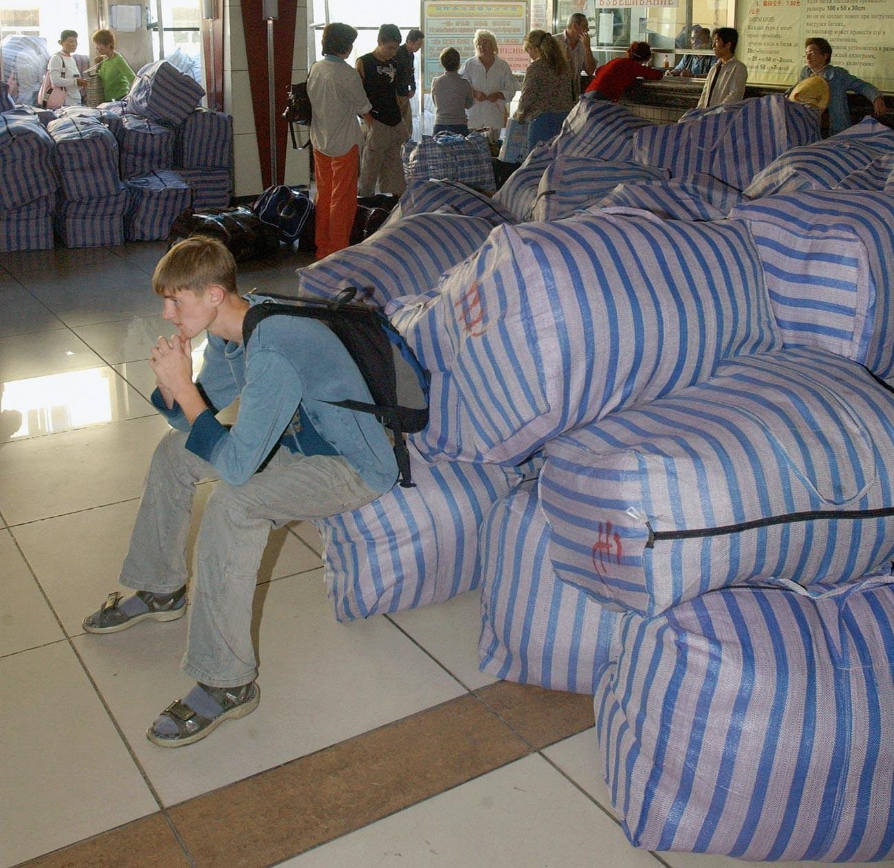 Comerciantes russos no Extremo Oriente a caminho de casa.
