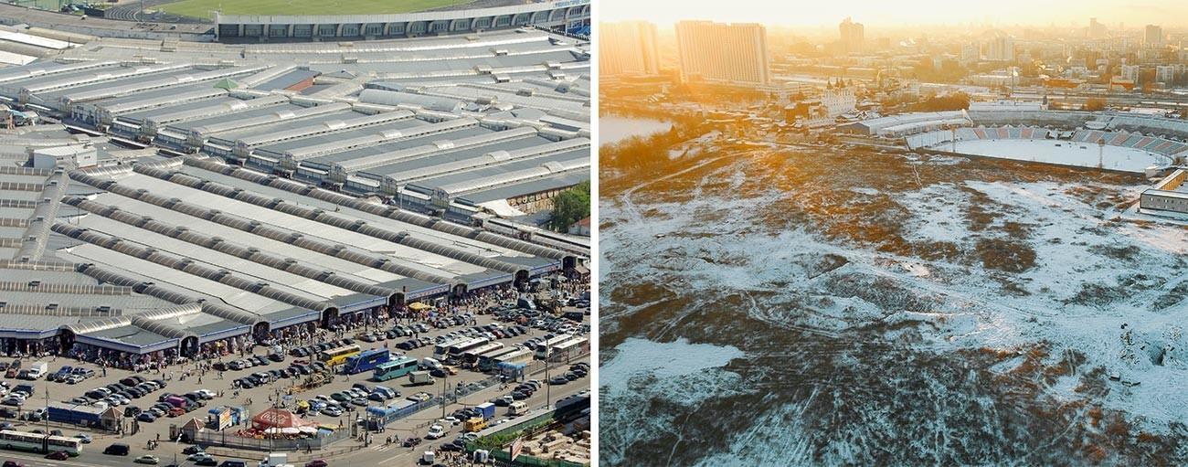O mercado Tcherkízovski em Moscou: no início dos anos 2000 (esq.) e na atualidade (dir.).
