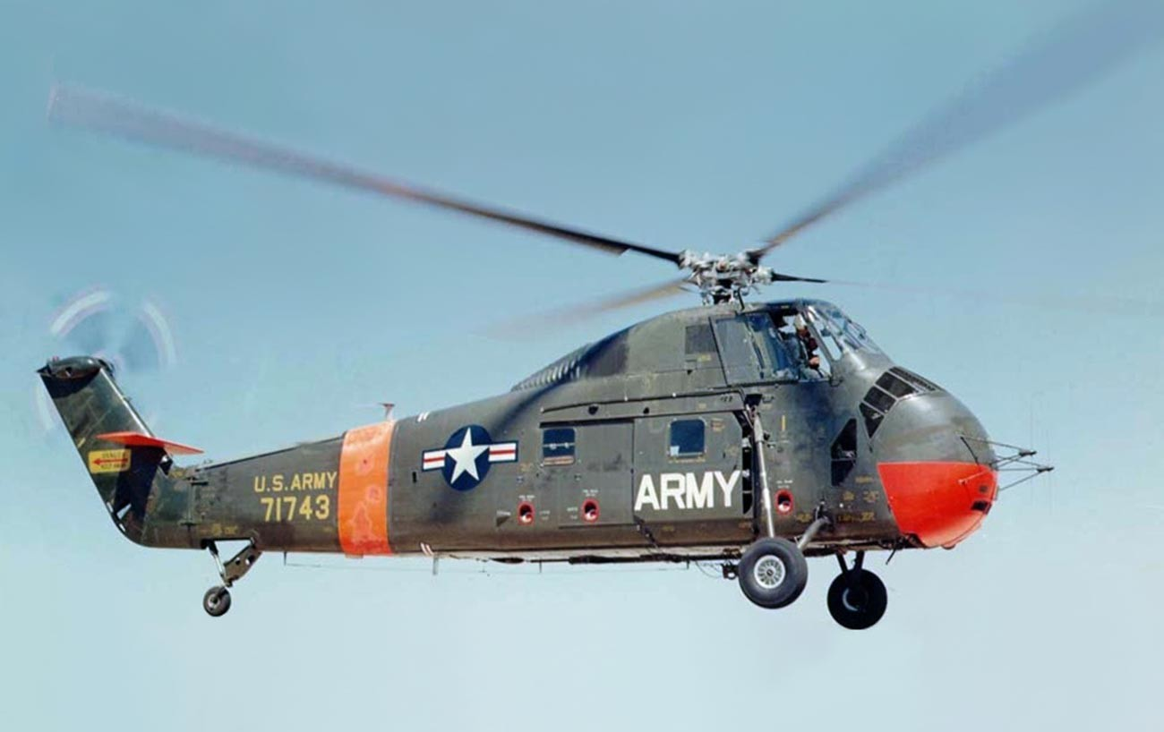 The Sikorsky H-34 landing.
